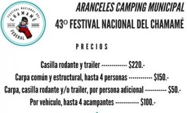 ARANCELES DIARIOS DEL CAMPING MUNICIPAL PARA EL 43º FESTIVAL NACIONAL DEL CHAMAMÉ