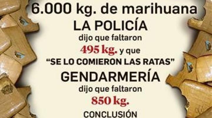 Ahora Gendarmería dice que las ratas se comieron casi el doble de marihuana