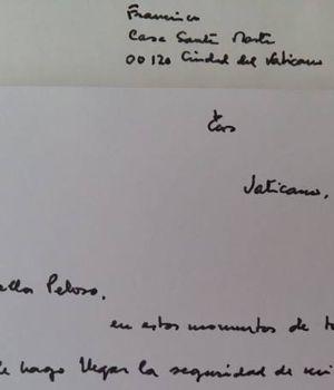 Emotiva carta de Francisco a la mamá de Santiago Maldonado