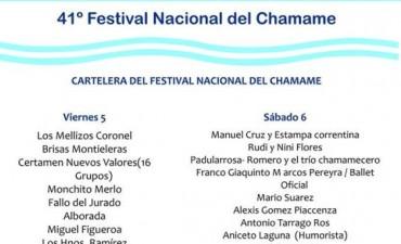 Cartelera oficial noche por noche del Festival Nacional del Chamamé Edición Nº 41