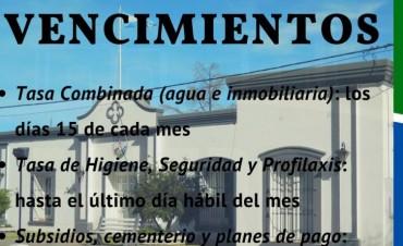 VENCIMIENTOS DE IMPUESTOS MUNICIPALES
