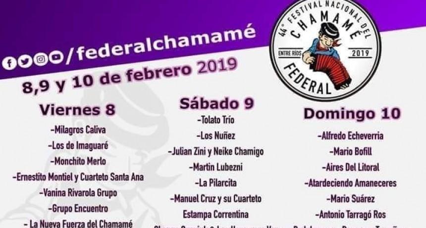 FESTIVAL NACIONAL DEL CHAMAME FEDERAL -  Se conoció la cartelera 2019
