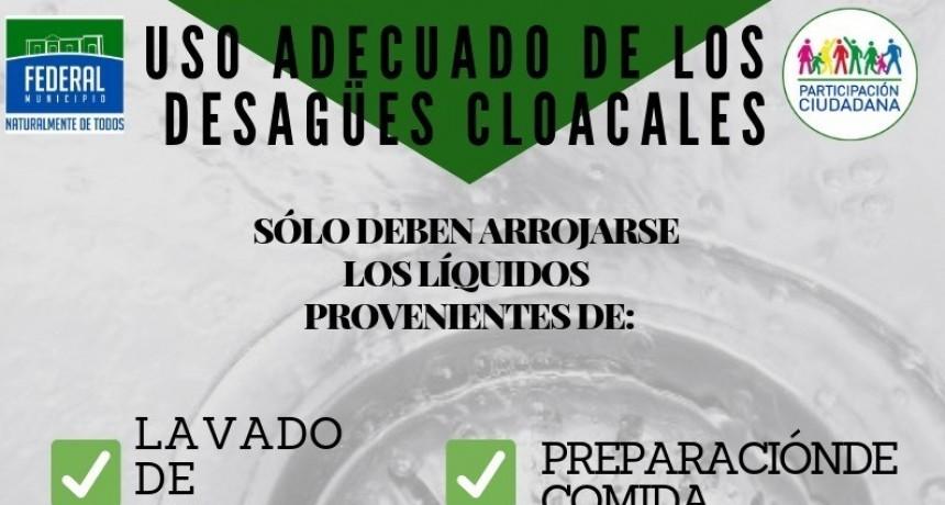 USO ADECUADO DE LOS DESAGÜES  CLOACALES DOMICILIARIOS
