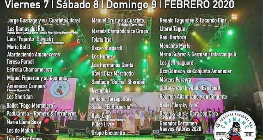 CARTELERA DE LA 45° EDICIÓN DEL FESTIVAL NACIONAL DEL CHAMAME DEL NORTE ENTRERRIANO
