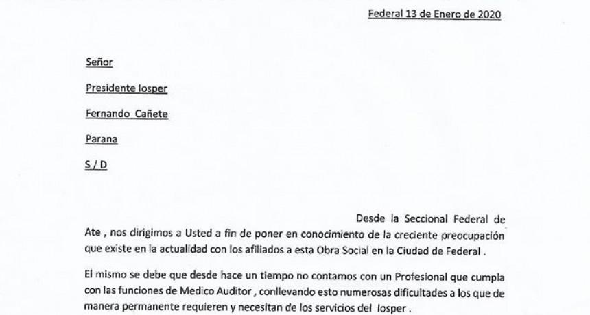 ATE Seccional Federal: En estado de alerta por medico auditor en IOSPER.