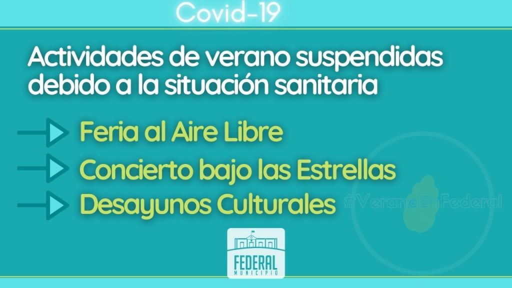 LA MUNICIPALIDAD SUSPENDE ACTIVIDADES RELACIONADAS A LA TEMPORADA DE VERANO