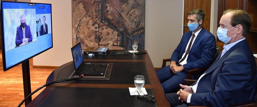 Bordet compartió por videoconferencia con el Presidente la presentación del módulo sanitario de Colón