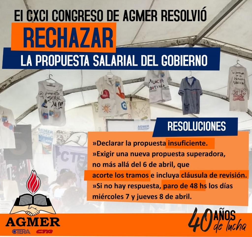Agmer rechazó la oferta salarial del Gobierno provincial