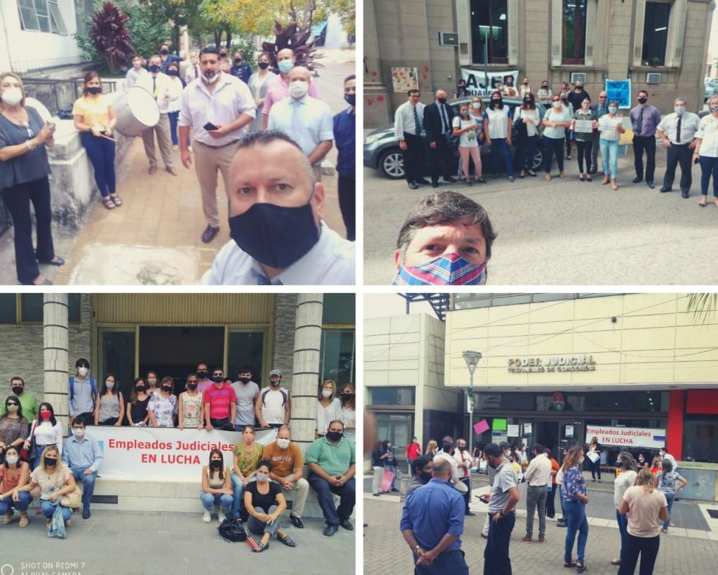 Los judiciales volvieron a protestar en distintos puntos de la provincia: reclaman mejoras salariales