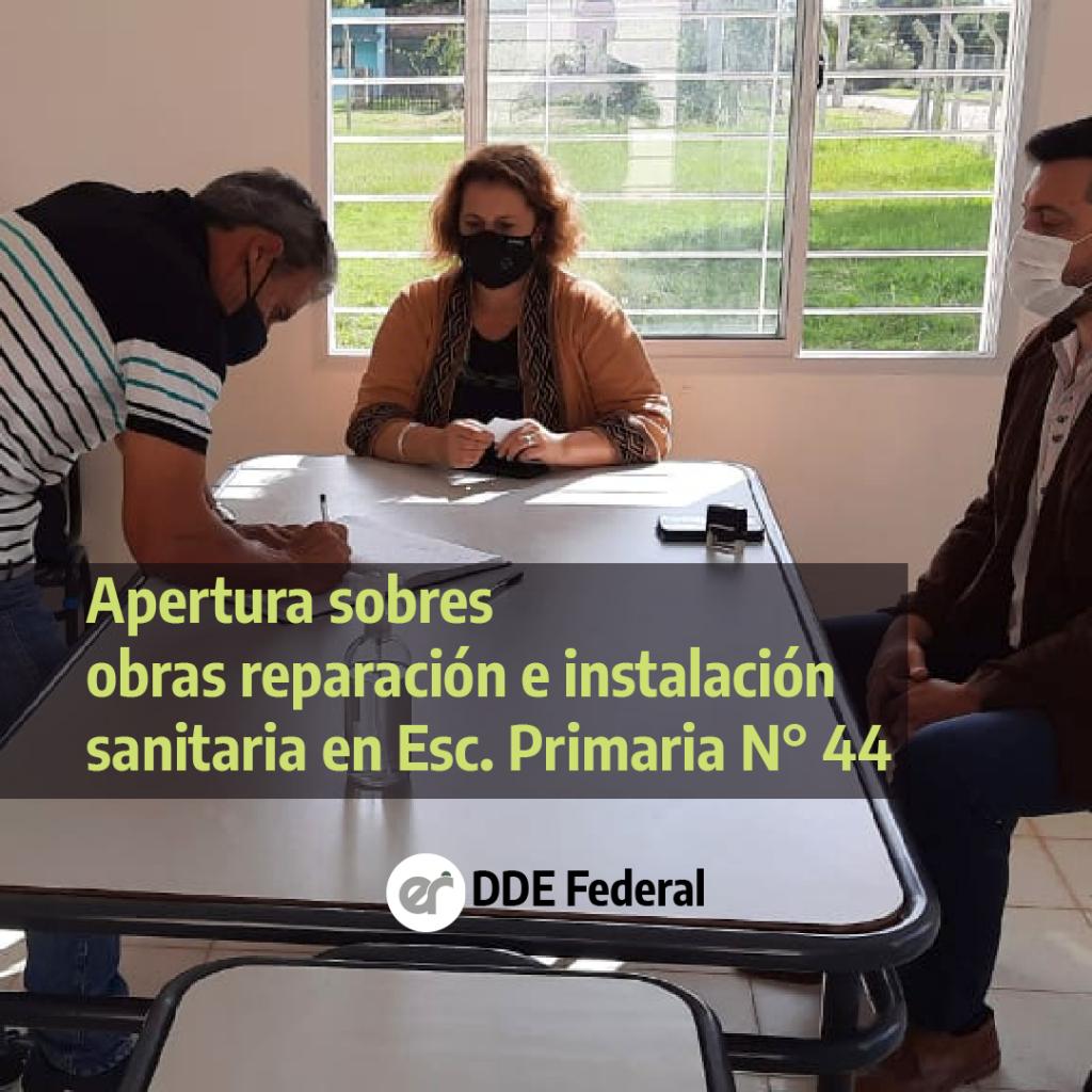 Se adjudico la obra de reparación e instalación de sanitarios en la Escuela Primaria N° 44 Domingo F. Sarmiento.