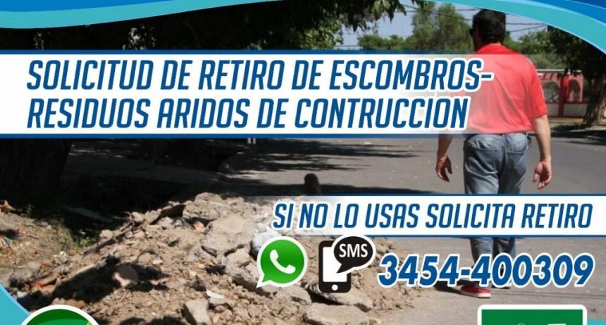 SOLICITUD DE RETIRO DE ESCOMBROS O RESIDUOS ÁRIDOS DE CONTRUCCIÓN
