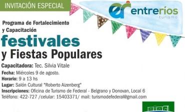 """CAPACITACIÓN """"FESTIVALES Y FIESTAS POPULARES"""" EN FEDERAL"""