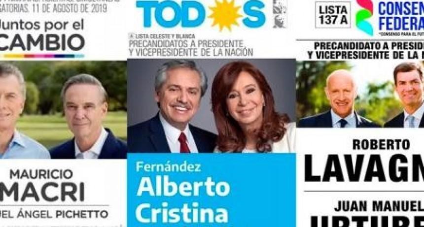 Se conocieron las boletas que las fórmulas presidenciales usarán para las PASO