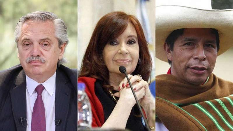 Alberto Fernández y Cristina Kirchner felicitaron a Pedro Castillo por su victoria en Perú