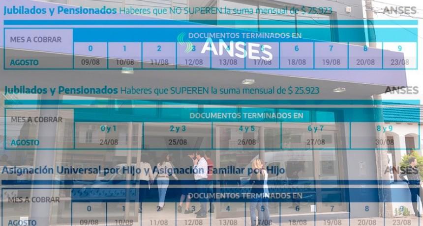 Pagos de ANSES: el cronograma de jubilaciones y beneficios del mes de agosto