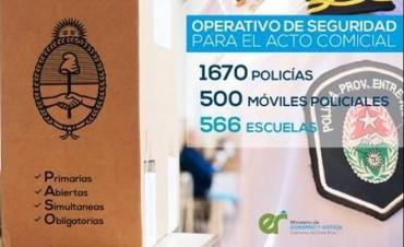 En Entre Ríos custodiarán los comicios 1.670 policías en 500 móviles