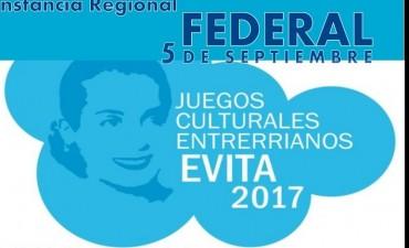 """FEDERAL SERÁ SEDE REGIONAL DE LOS """"JUEGOS CULTURALES EVITA"""""""