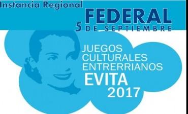 """Federal sera sede regional de los """"JUEGOS CULTURALES EVITA"""""""