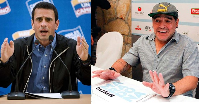 Capriles criticó y desafió a Maradona por apoyar a Maduro