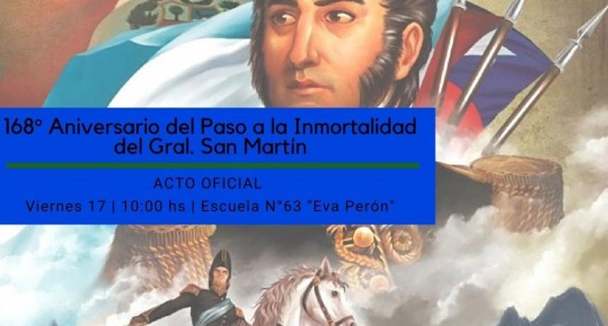 ACTO OFICIAL POR EL 168º ANIVERSARIO DEL PASO A LA INMORTALIDAD DEL GRAL. JOSÉ DE SAN MARTÍ