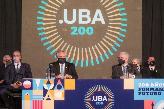 Alberto Fernández participó del acto de bicentenario de la UBA