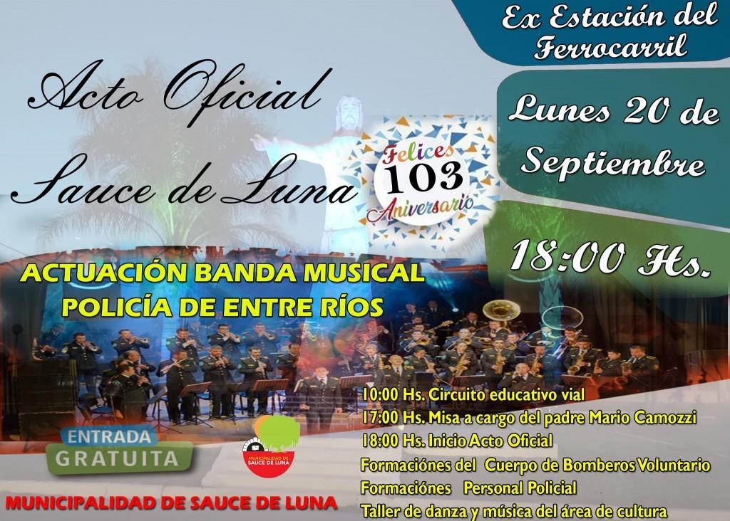 SAUCE DE LUNA CUMPLE 103 AÑOS - ACTO OFICIAL EL DIA 20
