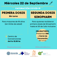 Covid-19: Se realizará en Concordia una jornada de vacunación libre para mayores de 18 años