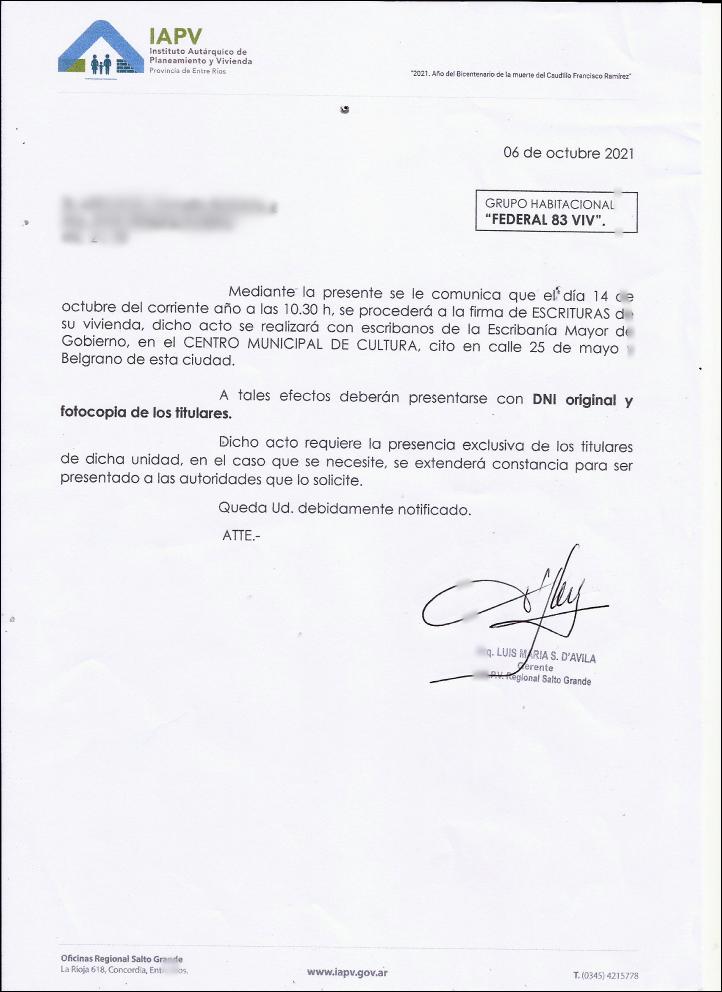 EL PROXIMO 14 DE OCTUBRE FIRMARAN LAS ESCRITURAS A LOS VECINOS DEL BARRIO 83 VIVIENDAS