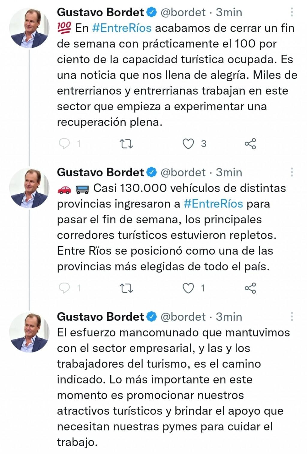 OPINO EL GOBERNADOR DE LA PROVINCIA GUSTAVO BORDET RESPECTO DEL TURISMO EN EL DINDE EXTRA LARGO