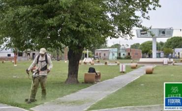 Tareas de corte de pasto en los barrios Campo de Mayo, El Silbido y 25 de Mayo