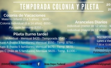 CONTINÚAN ABIERTAS LAS INSCRIPCIONES PARA LA COLONIA DE VACACIONES Y TEMPORADA DE PILETA