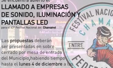 CONVOCATORIA A EMPRESAS DE SONIDO, ILUMINACIÓN Y PANTALLAS LED