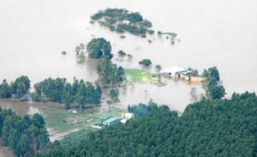 La inundación también alcanzó la casa que el ex gobernador Urribarri tiene en la península del lago Salto Grande
