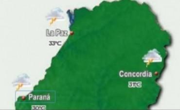 Federal, Feliciano y La Paz podrían ser las más afectadas por las lluvias y fuertes tormentas