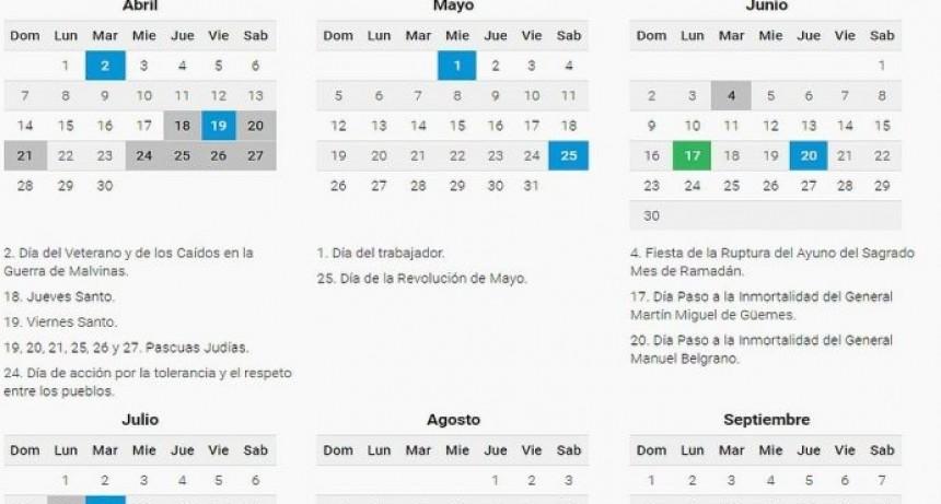 Información General  El 2019 tendrá 19 feriados y tres